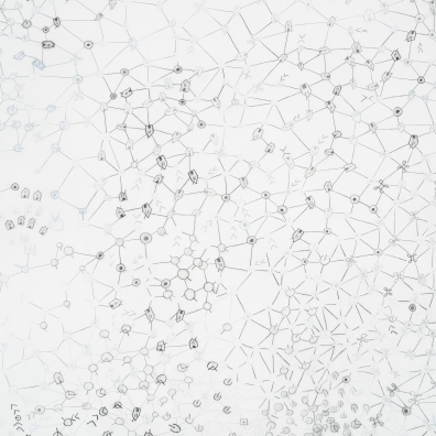 "Signs: Network Disintegration (detail). 2013 Graphite gesso on canvas over panel. 48"" x 60"""