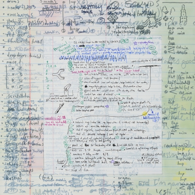 "Farley 1: Five Video Production Notes, 2014 Graphite, color pencil, artist pen, oil on panel 18"" x 18"""