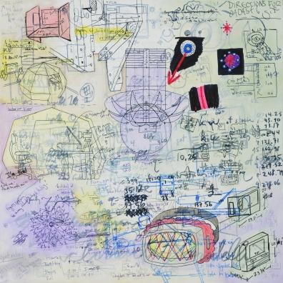 "Farley 2: Thirteen Video Production Notes, 2014 Graphite, artist pen, oil on panel 18"" x 18"""