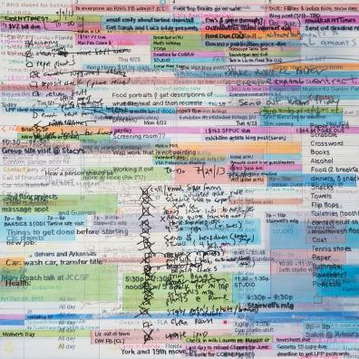 "Carey 1: Google Calendar, Phone Notes, To-Do Lists, 2014 Graphite, color pencil, artist pen, oil on panel 18"" x 18"""